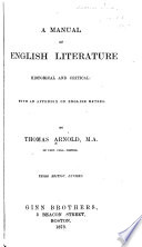 A Manual of English Literature  Historical and Critical Book