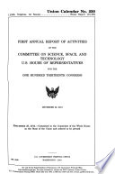 Annual Report of Activities of the Committee on Science, Space, and Technology, U.S. House of Representatives for the ... Congress