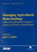 Managing Agricultural Biotechnology