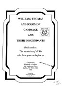 William  Thomas and Solomon Gammage and Their Descendants