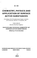Chemistry, Physics, and Applications of Surface Active Substances: Physics and physical chemistry of surface active substances