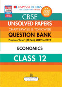 Oswaal CBSE Unsolved Papers Chapterwise   Topicwise Class 12 Economics  For March 2020 Exam