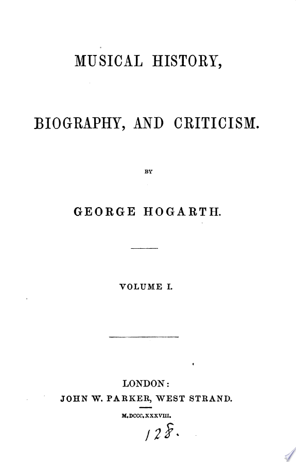 Musical History, Biography and Criticism,1