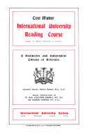 International University Reading Course     a Distinctive and Independent Library of Reference