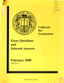 Essay Questions and Selected Answers from the     California Bar Examination