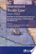 Investment Treaty Law
