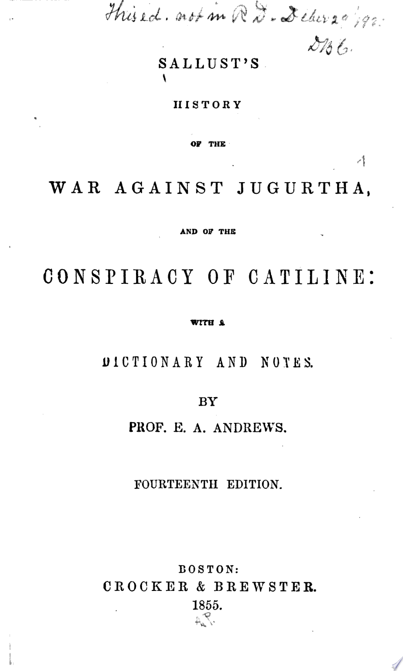 Sallust's History of the War Against Jugurtha, and of the Conspiracy of Cataline banner backdrop