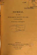 Journal of the Research Institute for Catalysis, Hokkaido University