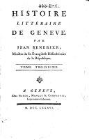 Histoire littéraire de Geneve