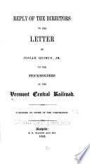 Reply of the Directors to the Letter of Josiah Quincy  Jr