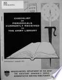 Checklist Of Periodicals Currently Received In The Army Library