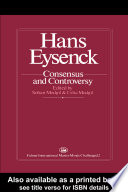 Hans Eysenck  Consensus And Controversy