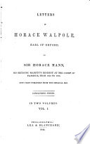 Letters of Horace Walpole, Earl of Orford