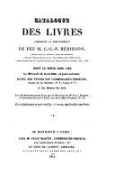 Catalogue de livres composant la bibliothèque de feu M. C.C.F. Hérisson