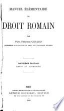 Manuel élémentaire de droit roman