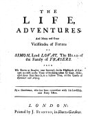 The Life  Adventures  and     Vicissitudes of Fortune of Simon  Lord Lovat  Etc   By Archibald Arbuthnot  With a Portrait