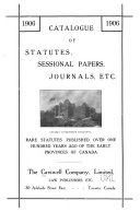 Catalogue Of Statutes Sessional Papers Journals Etc