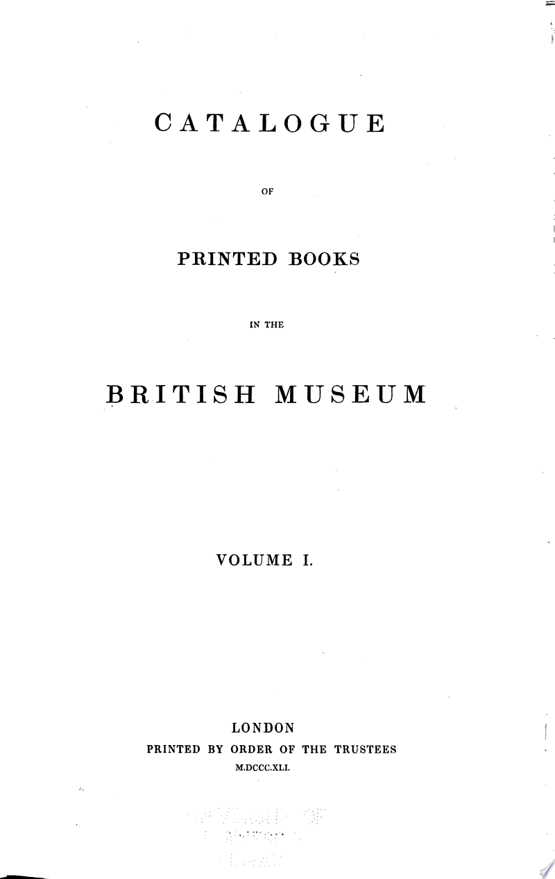 Catalogue of Printed Books in the British Museum banner backdrop
