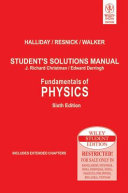 Fundamentals Of Physics, Student'S Solutions Manual, 6Th Ed