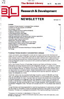 The British Library Research & Development Newsletter