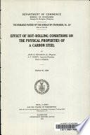 Effect of Hot-rolling Conditions on the Physical Properties of a Carbon Steel Pdf/ePub eBook