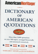 American Heritage Dictionary of American Quotations Book