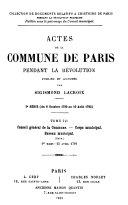 Actes de la Commune de Paris pendant la Revolution. Index alphabetique
