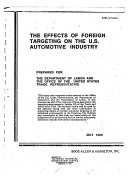 The Effects of Foreign Targeting on the U S  Automotive Industry