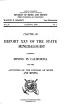 Chapter of Report     of the State Mineralogist Covering Mining in California and the Activities of the Division of Mines and Mining