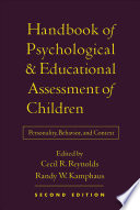 Handbook Of Psychological And Educational Assessment Of Children Book PDF