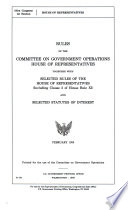 Rules of the Committee on Government Operations, House of Representatives