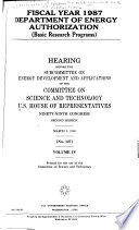 Fiscal Year 1987 Department of Energy Authorization: Basic research programs
