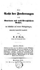Das Recht der Forderungen nach Preussischem Rechte