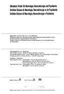 Archives suisses de neurologie, neurochirurgie et de psychiatrie