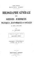 Bibliographie générale des sciences juridiques, politiques, économiques et sociales de 1800 à 1925-1926