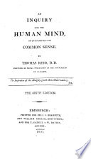 An Inquiry Into The Human Mind On The Principles Of Common Sense 6th Ed