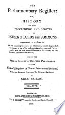 the parliamentary regifter  or  history of the houses of lords and commons