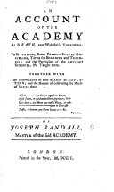 An Account of the Academy at Heath, near Wakefield, etc