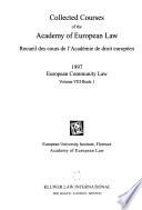 Recueil Des Cours de L'Académie de Droit Européen  , Band 8,Bücher 1