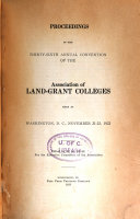 Proceedings of the     Annual Convention of the Association of Land Grant Colleges Book