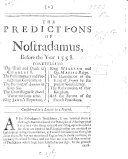 The Predictions of Nostradamus Before the Year 1558     Considered in a Letter to a Friend  Etc