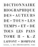 Dictionnaire Biographique Des Auteurs de Tous Les Temps Et de Tous Les Pays