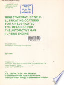 High Temperature Self Lubricating Coatings For Air Lubricated Foil Bearings For The Automotive Gas Turbine Engine Book PDF
