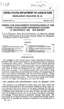 Feeding and Management Investigations at the United States Dairy Experiment Station at Beltsville  MD   1930 Report