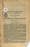 General Information Regarding Yellowstone National Park Book