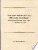 Progress Report On The Implementation Of Portfolio Management Book PDF