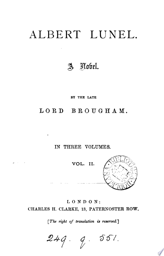 Albert Lunel  or  The ch  teau of Languedoc  by lord Brougham   by lord Brougham