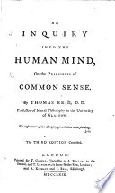 An Inquiry Into The Human Mind On The Principles Of Common Sense The Third Edition Corrected