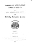 Proceedings of the Cambridge Antiquarian Society  with Communications Made to the Society