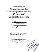 Preprints of the Annual Automotive Technology Development Contractors  Coordination Meeting Book